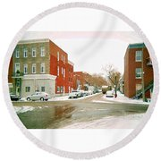 Montreal Art Winter Street Scene Painting The Point Psc Rowhouses In January Snow Cspandau Round Beach Towel