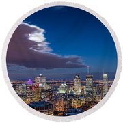 Montreal By Night Round Beach Towel