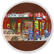 Montreal Hockey Paintings At The Corner Depanneur - Piche's Grocery Goosevillage Psc Griffintown  Round Beach Towel
