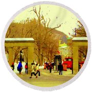 Montreal Memories Mcgill Students On Campus Roddick Gates Montreal Collectible Art Prints C Spandau Round Beach Towel