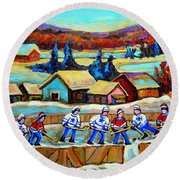 Montreal Memories Rink Hockey In The Country Hockey Our National Pastime Carole Spandau Paintings Round Beach Towel