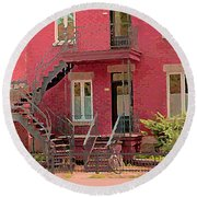 Montreal Memories The Old Neighborhood Timeless Triplex With Spiral Staircase City Scene C Spandau  Round Beach Towel