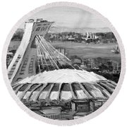 Montreal Olympic Stadium And Olympic Park-home To Biodome And Velodrome-montreal In Black And White Round Beach Towel