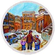 Montreal Paintings Winter Walk Past The Old School Snowy Day City Scene Carole Spandau Round Beach Towel