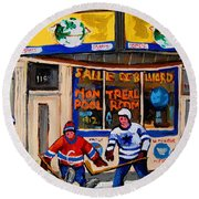 Montreal Pool Room City Scene With Hockey Round Beach Towel