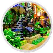 Montreal Staircases Verdun Stairs Duplex Flower Gardens Summer City Scenes Carole Spandau Round Beach Towel