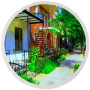 Montreal Stairs Shady Streets Winding Staircases In Balconville Art Of Verdun Scenes Carole Spandau Round Beach Towel