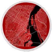 Montreal Street Map - Montreal Canada Road Map Art On Color Round Beach Towel