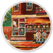 Montreal Street Scene Paintings Round Beach Towel