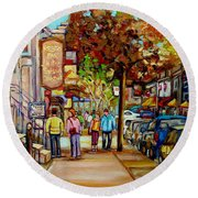 Montreal Streetscenes By Cityscene Artist Carole Spandau Over 500 Montreal Canvas Prints To Choose  Round Beach Towel