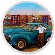 Montreal Taxi Driver 1940 Cab Vintage Car Montreal Memories Row Houses City Scenes Carole Spandau Round Beach Towel