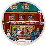 Montreal Winter Hockey At Moishes Round Beach Towel