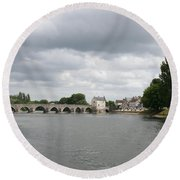 Montrichard Bridge Over Cher River Round Beach Towel