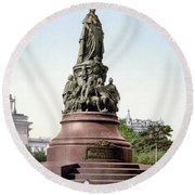 Monument Catherine II Round Beach Towel