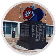 Monument For The Montreal Canadiens Round Beach Towel
