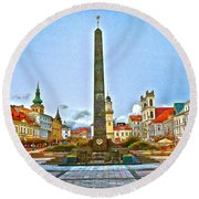 Monument In B.bystrica Round Beach Towel