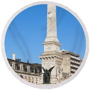 Monument On Restauradores Square In Lisbon Round Beach Towel