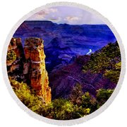 Monument To Grand Canyon  Round Beach Towel