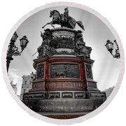 Monument To Russian Emperor Nicholas I In St . Petersburg . Russia Round Beach Towel