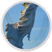 Monument To The Immigrants Statue 4 Round Beach Towel