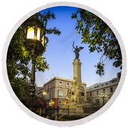 Monument To The Marquis Of Comillas Cadiz Spain Round Beach Towel