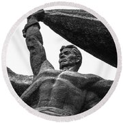Monument To The People 0131 - Textured Pencil Round Beach Towel