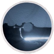 Monument Valley At Night 2 Round Beach Towel