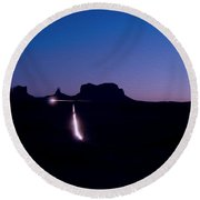 Monument Valley At Night Round Beach Towel