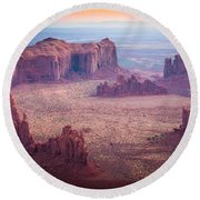 Monument Valley From Hunts Mesa Round Beach Towel