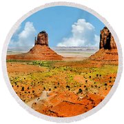 Monument Valley In Spring Panoramic Painting Round Beach Towel