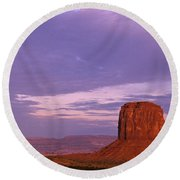 Monument Valley Red Rock Formations At Sunrise Round Beach Towel