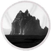 Monument Valley Region-arizona Black And White Round Beach Towel