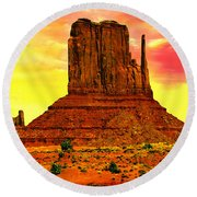 Monument Valley Right Mitten Sunrise Painting Round Beach Towel