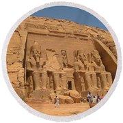 Monumental Abu Simbel Round Beach Towel