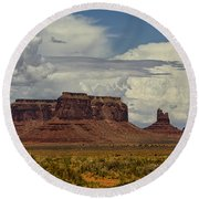 Monumental Clouds  Round Beach Towel
