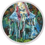 Monumental Tree Goddess Round Beach Towel