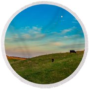 Moo Moon Round Beach Towel