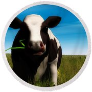 Moo... Round Beach Towel