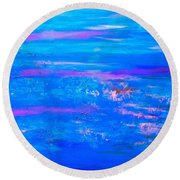 Moody Blues Abstract Round Beach Towel