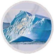Moody Blues Iceberg Closeup In Saint Anthony Bay-newfoundland-canada Round Beach Towel