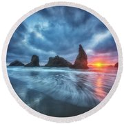 Moody Blues Of Oregon Round Beach Towel by Darren  White