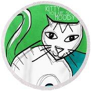Moody Cat- Pop Art Round Beach Towel
