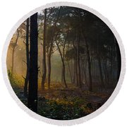 Moody Forest Happy Sun Round Beach Towel