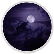 Moody Moon Round Beach Towel