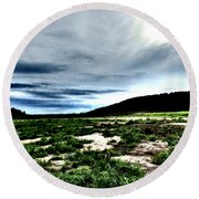 Moody Mother  Round Beach Towel
