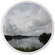 Moody Sky Over Campobello Bay Round Beach Towel
