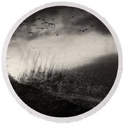 Moody Sunrise With Grasses And Birds Round Beach Towel