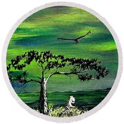 Moomintroll And Lighthouse Round Beach Towel