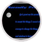 Moon - Serenity Prayer - Blue Round Beach Towel