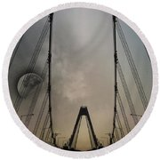 Moon And A Bridge Round Beach Towel